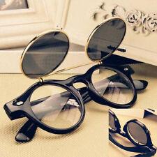 Steampunk Goth Goggles Glasses Retro Flip Up Round Sunglasses Vintage Black 22W0