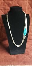 Vintage Santo Domingo 5 Stand Turquoise And Liquid Silver Necklace