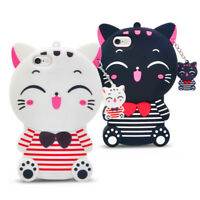 3D Cute Cartoon Stripe Lucky Cat Silicone Mobile Phone Cases For Various Phone