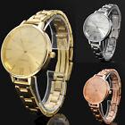 Fashion Women Dress Quartz Watch Stainless Steel Bracelet Round Thin Band