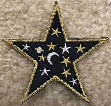 "#3066B 3"" Embroidery Iron On Moon&Star ,Pagan Astrology Applique Patch"