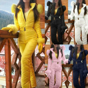 Women Super Warm Mountain Skiing Jumpsuit Ski Jacket Pants Outfit Top Outerwear