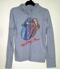 AMPLIFIED LIGHTWEIGHT GREY 'THE ROLLING STONES' COTTON MIX GLITTERY HOODIE S-M