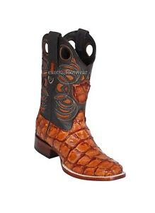 Men's Wild West Genuine Pirarucu Fish Western Cowboy Boots Square Toe