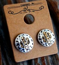 Rustic Cactus Two Tone Metal Disc Stud Earrings Silver/Gold Burnished