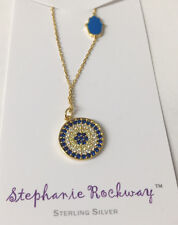 Hamsa CZ Stones Pendant Yellow Gold Plated Sterling Silver Chain Necklace