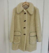 Faux Fur Vintage Beige Cream Teddy Bear Fluffy Warm Fuzzy Coat Toggles Winter