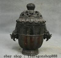 """8.4"""" Marqué Ancien Chine Bronze Dynastie Phénix Oiseaux Tête Brûleur d'encens"""