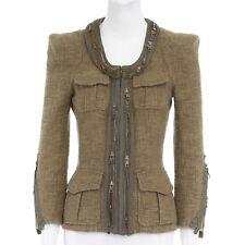 BALMAIN Green Cotton Zipper Collar Strong Padded Shoulder Military Jacket fr38
