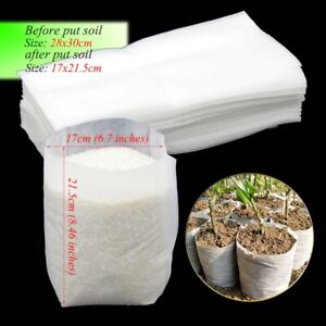 50Pcs 28x30 cm Nursery Plant Growing Bags Biodegradable Nonwoven Fabric Seedling