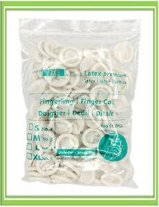 100x Fingerlinge Latex Kosmetik Untersuchung Gastro Gr. M - L (€0,03/Einheit)