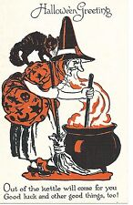 Vintage Halloween Postcard: Series 1133 Witch Stirring Pot with Black Cat