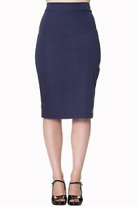 Banned Navy Blue Vintage 50s Style Pencil Wiggle Skirt Pinup Rockabilly