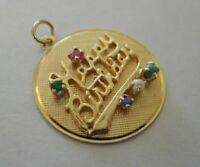 HEAVY Vintage 14k Yellow Gold JEWELED HAPPY BIRTHDAY Bracelet Charm 5.3 G #20045