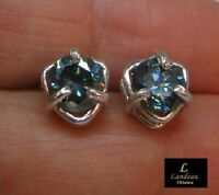 2.82 ct Blue Diamond Silver Earrings