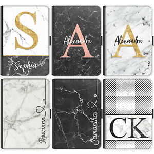 Initial Ipad Case, Personalised Marble PU Leather Flip Cover For Apple Ipad