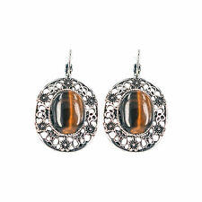 Silver Vintage Drop Earrings - Tiger's Eye -  OZ Seller