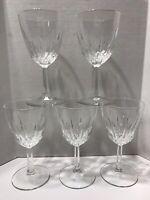 5 Vintage Crystal Clear Wine Glasses Stemware Goblets Made in France Set Of 5