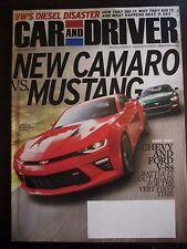 Car & Driver Magazine December 2015 New Camaro Vs. Mustang (Y)