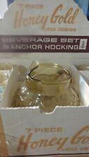 Midcentury 7 piece honey gold beverage set by Anchor Hocking vintage N4000/71