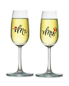 Mr. & Mrs.With Hearts Glass/ wine glass vinyl sticker for wedding, party...