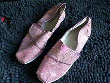 new marks & spencer girls pink glitter flat pumps ...size uk 2.....rrp  £14