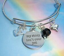 MY STORY ISN'T OVER YET QUOTE CHARMS BANGLE BRACELET Mental Health Awareness
