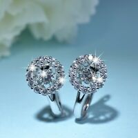18k white gold gf made with SWAROVSKI crystal rocking stone huggie earrings