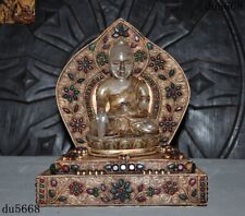 Old Tibetan crystal silver Filigree Gilt Inlay jade gem Shakyamuni Buddha statue