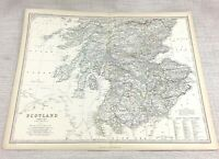 1861 Antique Map of Southern Scotland Hand Coloured Engraving Keith Johnston