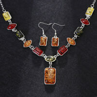 EG_ OVAL AMBER AFRICAN STYLE WOMEN NECKLACE HOOK EARRINGS PARTY JEWELRY SET FADD