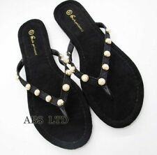 New Ladies Womens Slip On  Summer Toe Post Pearls Sandal Flip Flops all Sizes