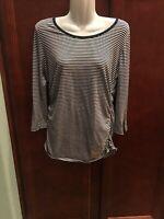 Women's Michael Kors 3/4 Sleeve Shirt Top Black White Stripe Cinched Sides S: M