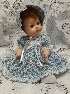 """Doll Clothes Dress Set for 16"""" Tiny Tears """"Lovely Blue Floral"""" by Maureen"""