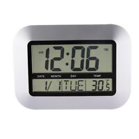 LCD Atomic Digital Wall Clock Thermometer Electronic Temperature Meter Calender