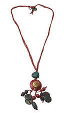 ARTISAN HANDMADE NECKLACE COLOURFUL BEADS & METAL DETAILS ZX18