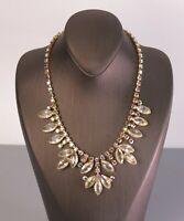Vintage Prong Set Navette Rhinestone & AB Crystal Necklace