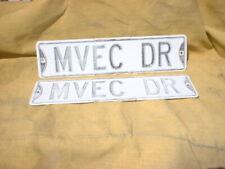 M V E C  DR Vintage Street Sign Embossed 24 x 6 Black & White HEAVY