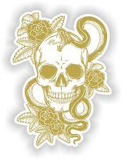 Gold & White Skull Sticker Rose Snake Skeleton Car Guitar Book Door Skate #01