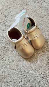 ⭐️Cat & Jack⭐️ Baby Girl Gold Faux Moccasin Shoes, 6-9 Months, NWT