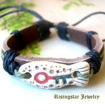 "Men's ""Key to Happiness"" Leather Hemp Surfer Character Hip Bracelet Wristband"