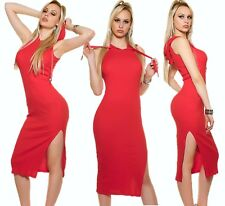 Hoodie Dress Midi Dress Maxi Dress Ribbed Knitted Long Jorsey with Hoodie Red M