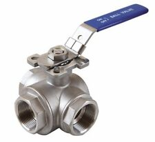 """1-1/2"""" Stainless Steel 316 3-Way Ball Valve T Port with Mounting Pad 1000 PSI"""