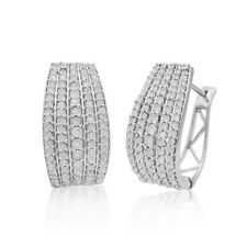 1.53 Ct Round Cut Natural White Diamond Huggie Hoop Earrings 925 Sterling Silver