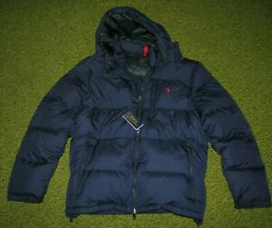 Men's (XXL) POLO-RALPH LAUREN Navy EL CAP Down HOODED Puffer PONY Jacket