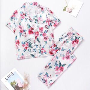 Women's Short Sleeve Silk Pajamas Set Print Satin Sleepwear Homewear Nightwear