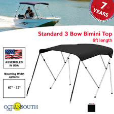 "Oceansouth Bimini Top 3 Bow Boat Cover Black 67""-72"" Wide 6ft Long W/ Rear Poles"
