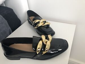 Brand New SHEIN Black Patent Flat Loafers Chunky Gold Buckle Chain Fits Size 6