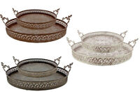 2er set Tablett Dekot Metall Ornamente Shabby Landhaus Vintage Rund 2 Größen