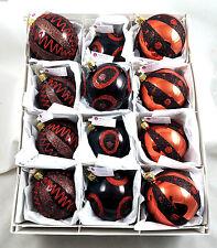 Copper Orange Black Glass Ornaments Box of 12 Inge Made in Germany Halloween